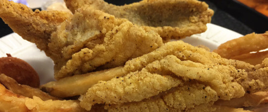 Fried catfish and fries on plate