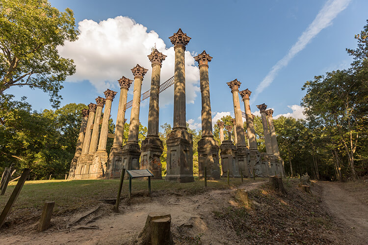 The ruins consist of 23 standing Corinthian columns of the largest antebellum Greek Revival mansion ever built in the state.[4] The mansion stood from 1861 to 1890, when it was destroyed by fire. The 2.1-acre (0.85 ha) site was added to the National Register of Historic Places in 1971 and was designated a Mississippi Landmark in 1985