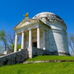 Modeled after the Roman Pantheon, the monument has sixty unique bronze tablets lining its interior walls, naming all 36,325 Illinois soldiers who participated in the Vicksburg Campaign. Atop the memorial sits a bronze bald eagle sculpted by Frederick C. Hibbard of Chicago, who would also sculpt the statue of General Ulysses S. Grant in the park.  The monument stands sixty-two feet in height and originally cost $194,423.92, paid by the state of Illinois. Vicksburg, Mississippi