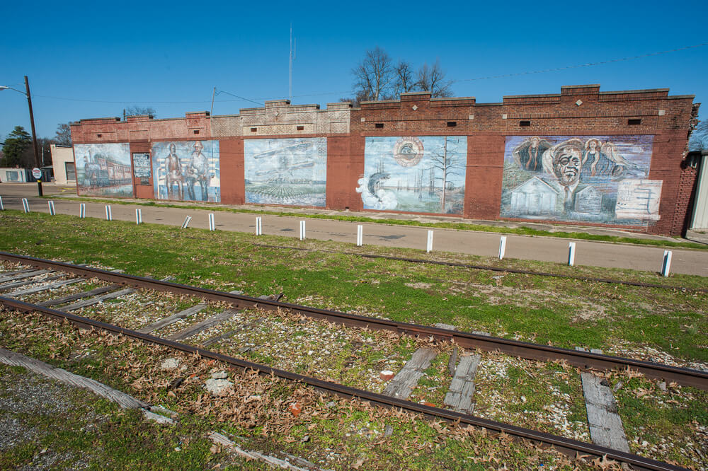 Tutwiler Murals located at the Railroad Blues Park in  Tutwiler, MS. Depictions include a tribute to Bluesman Sonny Boy Williamson.