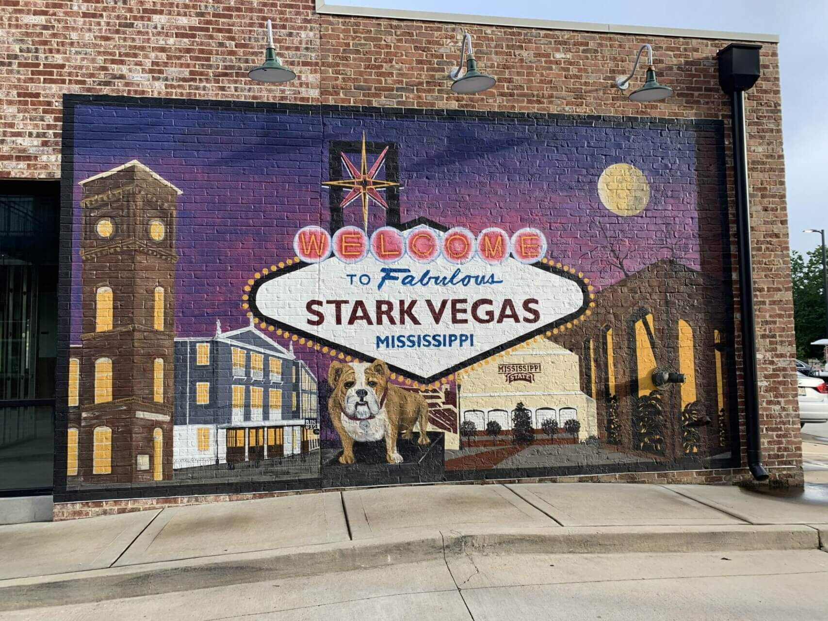 Starkville mural featuring some of the community's most recognizable landmarks.