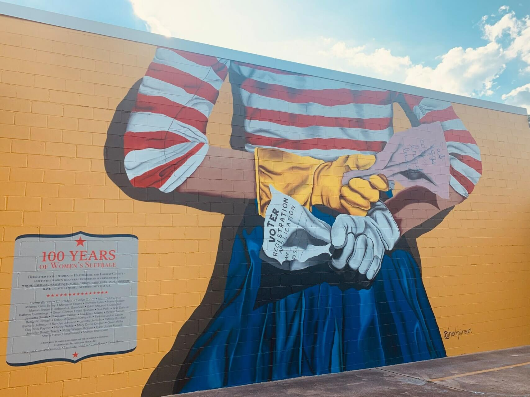 """""""Suffarage"""" painted by Heidi Pitre. Created to honor Hattiesburg women who served in public office."""